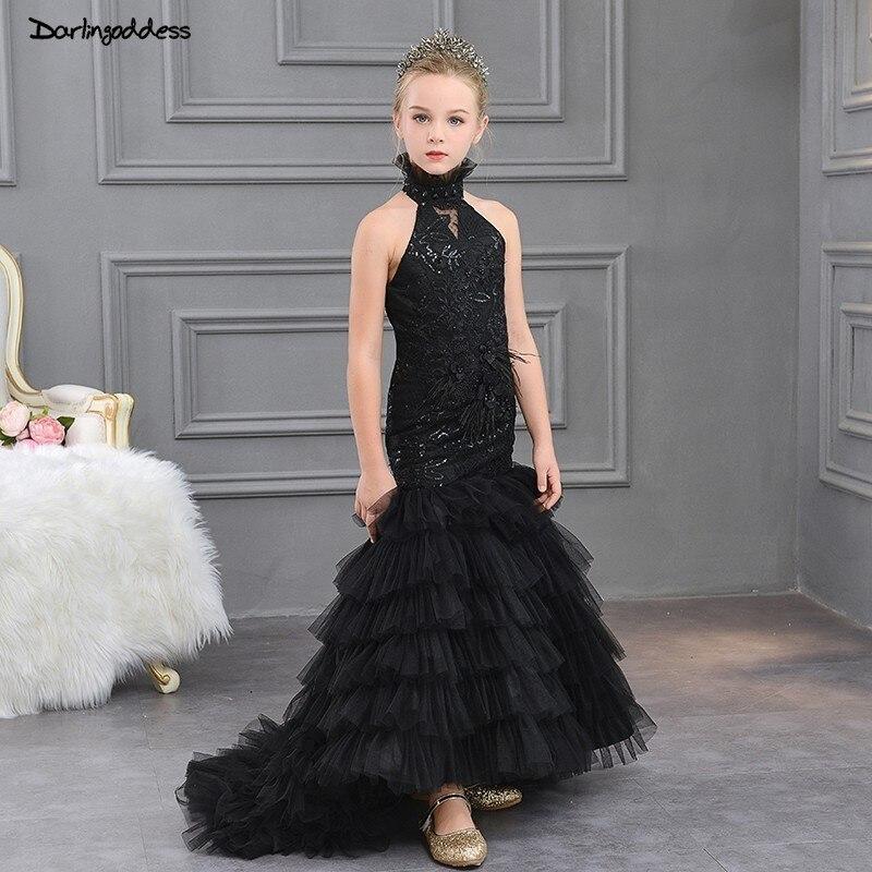 Black   Flower     Girl   Dresse for Weddings First Communion   Dresses   for   Girls   Kids Mermaid Evening Gowns Children Prom   Dresses   2019