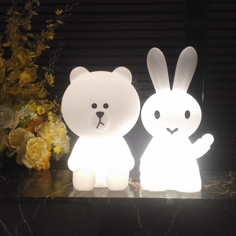 Ins Hot Bear Rabbit Night Light Led Desk Light Bedroom Bedside Table Lamp Christmas Gifts for Baby Children Kids Cartoon Lamp in LED Night Lights from Lights Lighting
