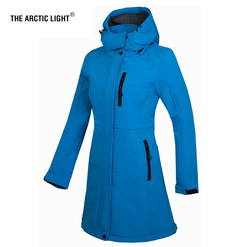 THE ARCTIC LIGHT Camping Fleece Waterproof Soft shell Jacket Women Outdoor Impermeable Long Hiking Coat Hunting Clothes|Hiking Jackets|   - title=