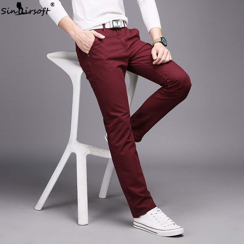 SINAIRSOFT 10 Colors Casual Men's Cotton Slim Straight Trousers Business Solid Long