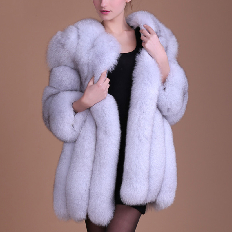 Women Luxury Faux Fur Coat Winter Solid Fake Fox Fur Jackets Female Thick Long Overcoats For Ladies 2018 New Fake Fur Coats