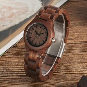 Image 3 - Einfache Reine Zifferblatt Retro Nussbaum Holz Uhr Frauen Uhr Stunden Ganze Einstellbare Holz Handgelenk Damen Uhren für frau Montre Femme