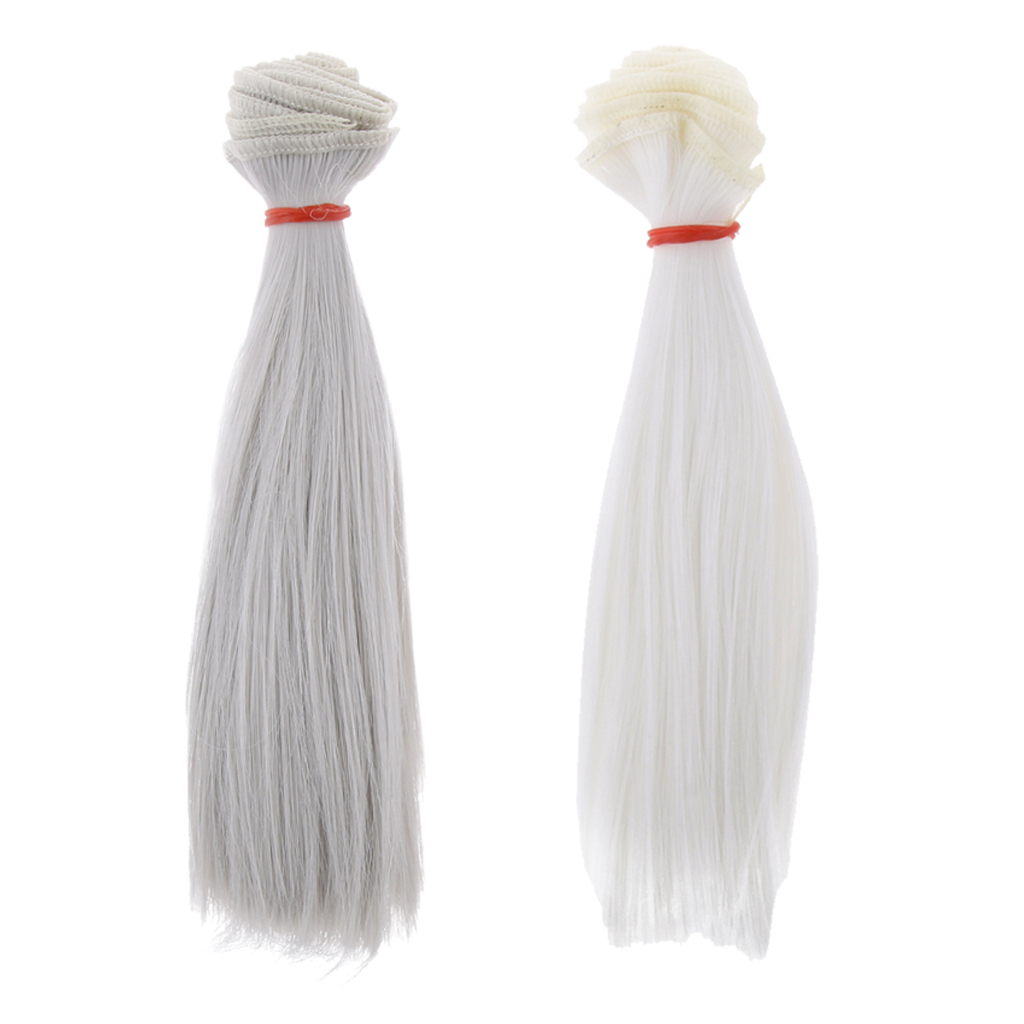 100% Quality 2pcs 15x100cm Diy Wig Straight Hair For 1/3 1/4 /16 Bjd Dolls Diy Making Accessory White & Gray Low Price