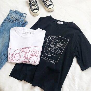 Stripe Abstract Painting Women T Shirt Short Sleeve White Black Tops Tshirt For Summer