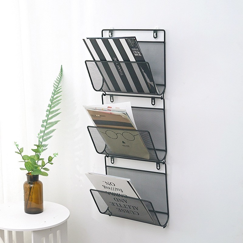 Nordic Style Metal Magazine Rack Wall Mounted Storage Rack Book Shelf Office Stationery Holder Magazine Organizer Wall Decor