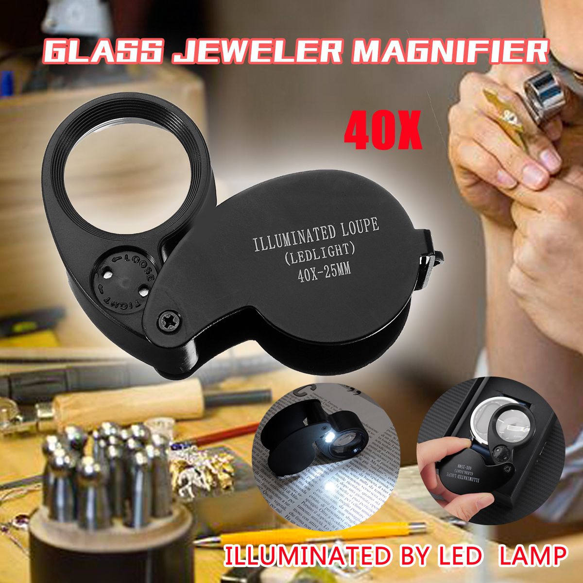 Different Price 40x 25mm Glass Magnifying Magnifier Jeweler Eye Jewelry Loupe Loop Led Light Watchmaker Tools