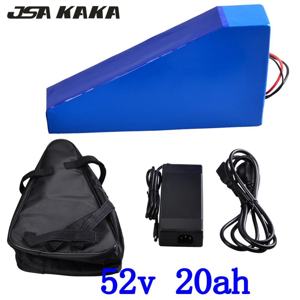 米国 EU NO Tax 52 V 1000 ワット 2000 ワット電動自転車三角形バッテリー 52 V 20AH リチウム電池 50A BMS と 58.8 V 5A 急速充電器 + バッグ -