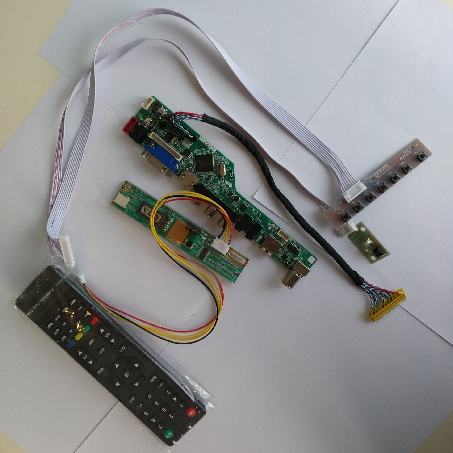 "For 16.0/"" LTN160AT01 1366x768 16:9 M.NT68676 HDMI+DVI+VGA LCD Controller Board"