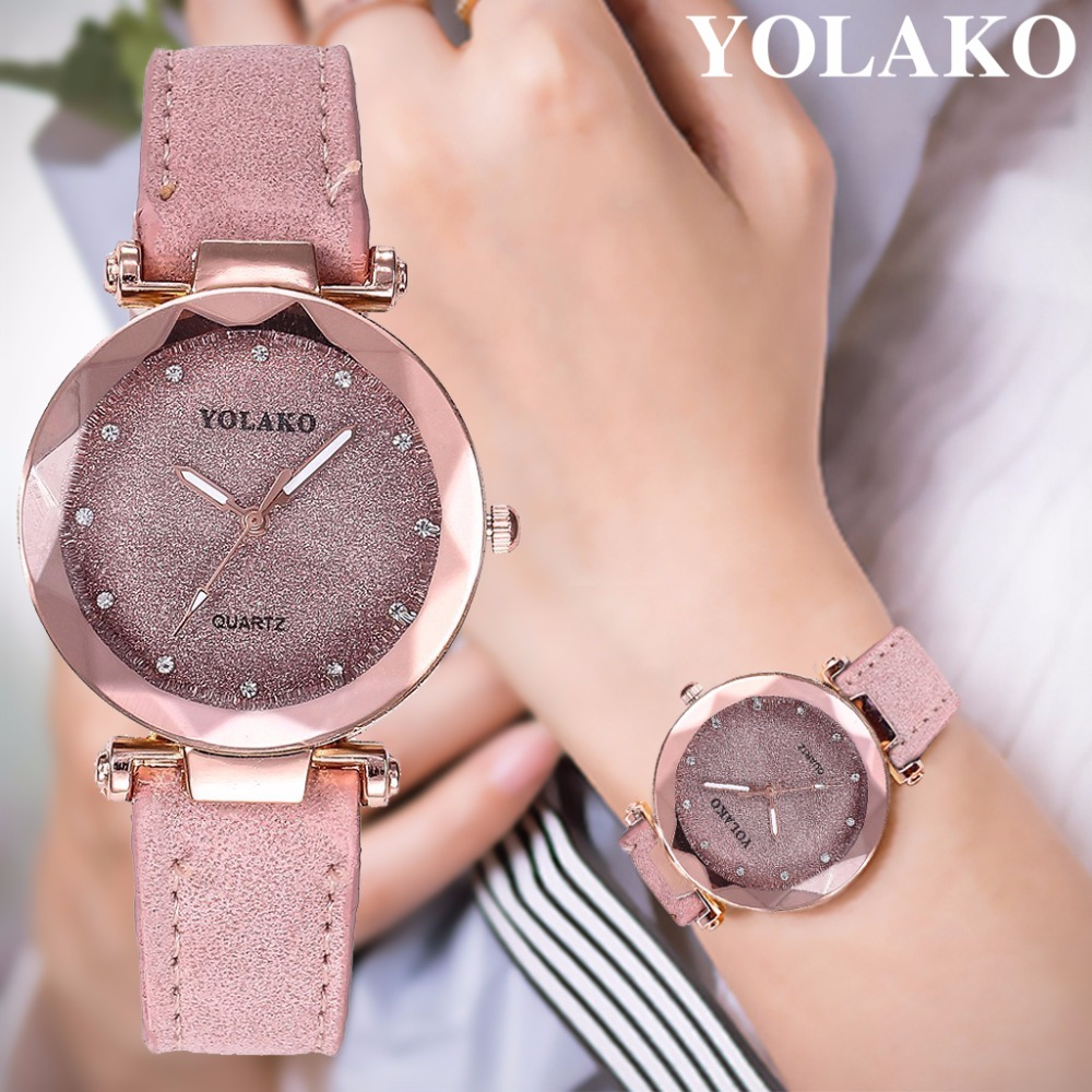 Dropshipping Women Romantic Starry Sky Wrist Watch Leather Rhinestone Designer Ladies Clock YOLAKO Brand Relogio Feminino(China)