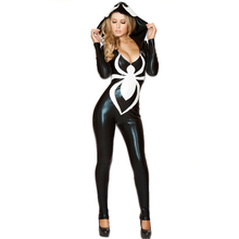 Hood Disfraz Mujer Spiderman Jumpsuit New Black Halloween Costume For Women Ladies Venom Spider Sexy Faux Leather Catsuit