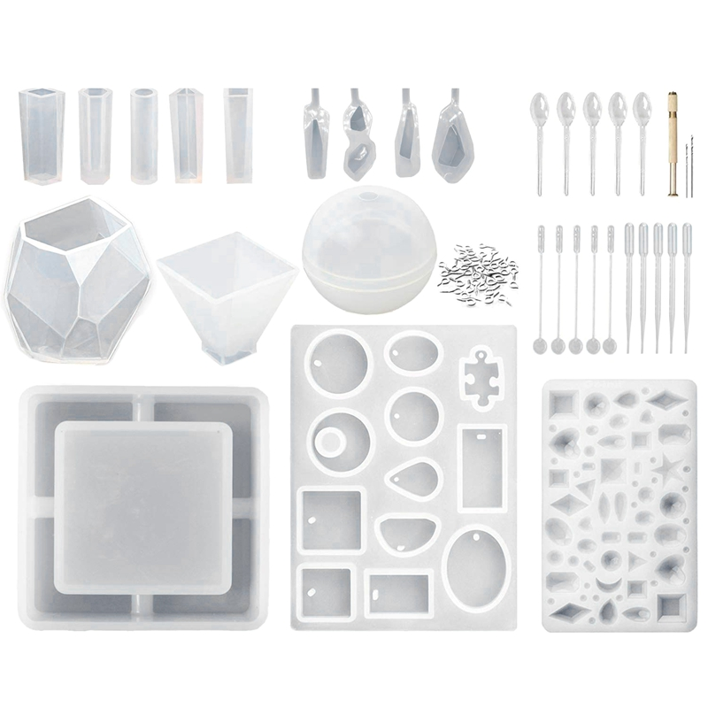 15 Pcs (65 Shapes) Silicone Resin Molds And 118 Tools For Epoxy Resin, Uv Resin, Making Including Pendant Jewelry Ashtray Earr