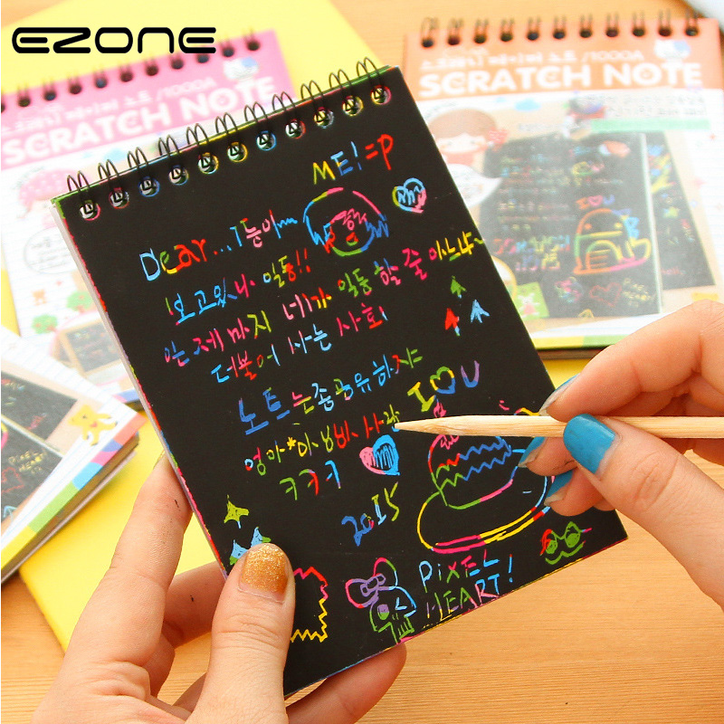 EZONE Magic Scratch Notebook Children DIY Black Pages Graffiti Notebook Kids Drawing Book Creative Painting Notepad