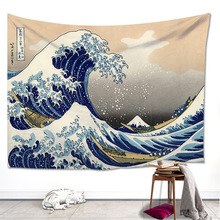 Japanese Painting Sea Spray Waves Tapestry Surge Sailing Boats Home Bed Cloth Decoration Curtain Blanket