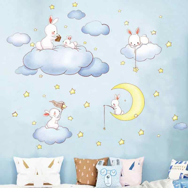 Cartoon Wall Sticker Kids Rooms Home Decor Rabbit Decals Baby Bedroom Clouds Wall Sticker