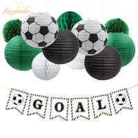 NICROLANDEE 17Pcs Set Football DIY Party Decoration Birthday  Decor Paper Lantern Honeycomb Flower Ball Pompom Set