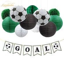 NICROLANDEE 17Pcs Set Football DIY Party Decoration Birthday  Decor Paper Lantern Honeycomb Flower Ball Pompom