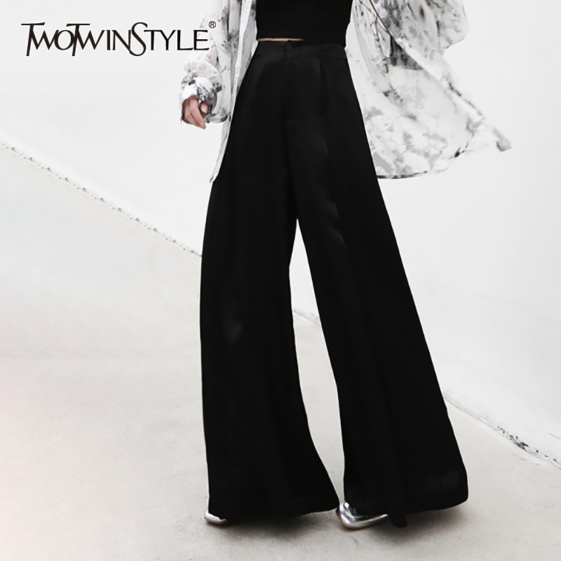 TWOTWINSTYLE 2019 Summer Black   Wide     Leg     Pants   For Women High Waist Zippers Big Size Trousers Female Fashion Clothes Korean
