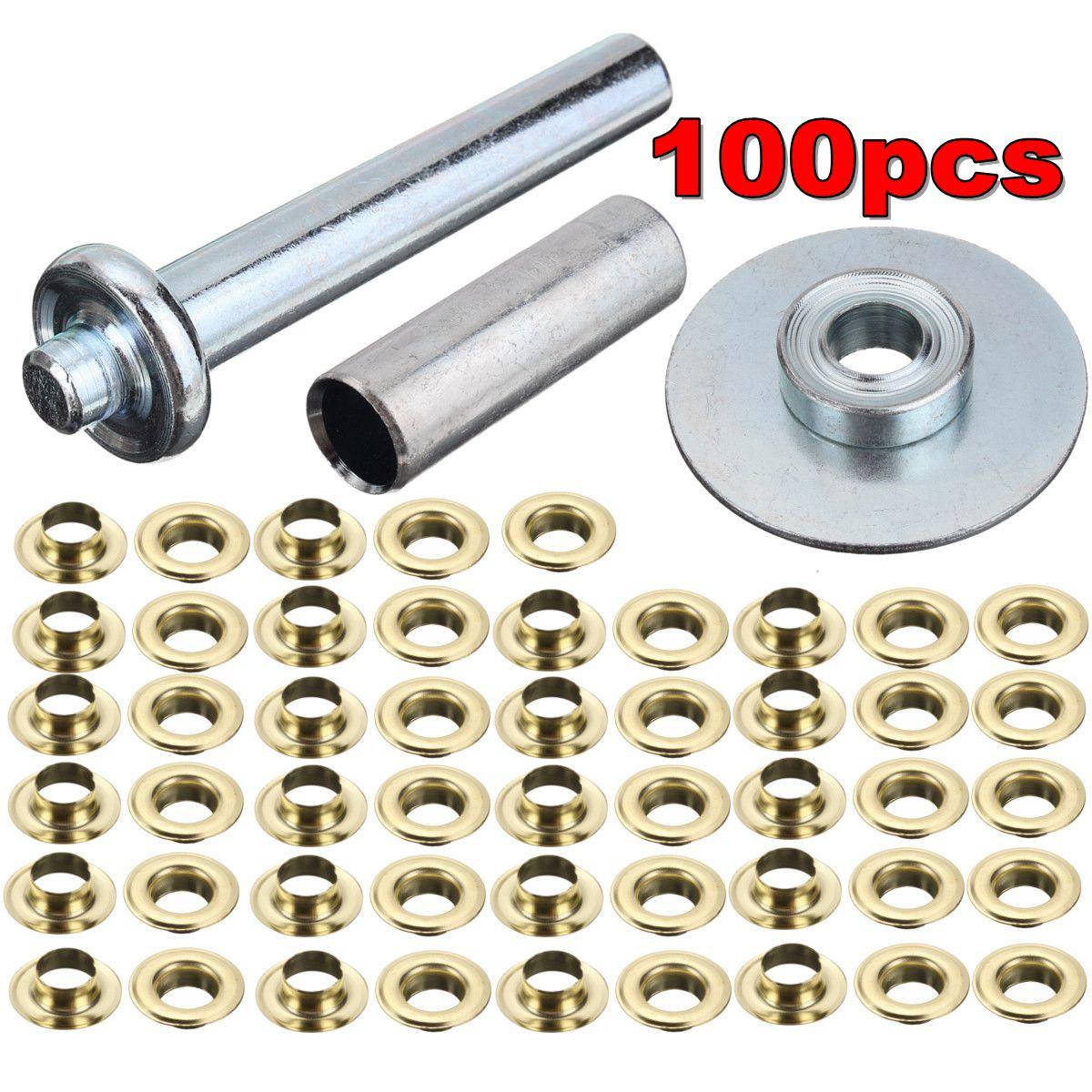 100pcs Tarp Repair Kit 100 Brass Grommet Eyelet Punch Stamp Tarpaulin Awning Set