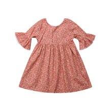 780643089e02fc Vintage Kids Meisjes kleding ronde hals backless bloemenprint Kwastje  Prinses Baby Peuter casual Party katoen Jurken een stukken