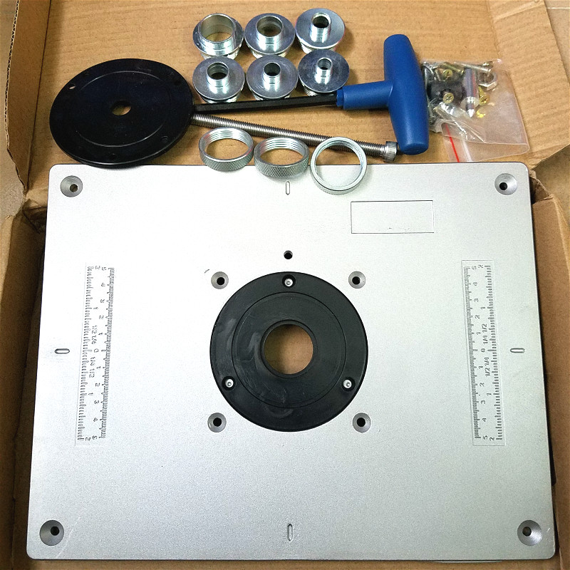 Aluminum Router Table Insert Plate 300x235x9 5mm with Steel Guide Bushing and Lifting Tool for Wood