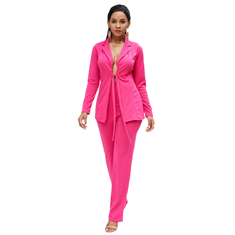 Women Solid Blazer Pants Set Open Front Tied Waist Long Sleeve suit for woman Cardigan Robe women casual pant suits 2 Piece Set thumbnail