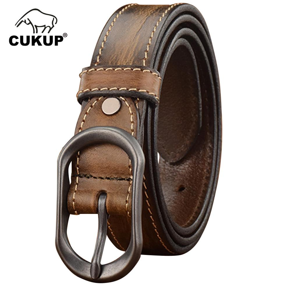 CUKUP Retro Simple Design Styles Jeans Belt for Men 3.4cm Width Quality Retro Style Cow Skin Leather Belts Pin Buckle LUCK806