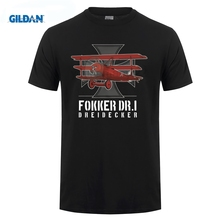 GILDAN 2018 Hot Sale 100% cotton Vintage  WWI Fokker DR1 T Shirt Cotton loose short-sleeved T-shirt