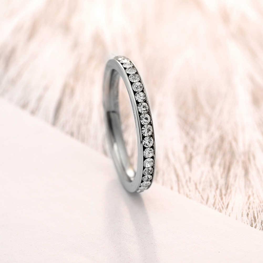 נירוסטה 3mm נצח טבעת נקה מעוקב Zirconia נשים Stackable אירוסין נישואים