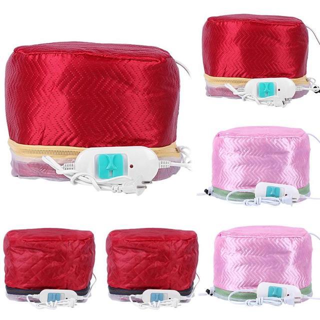 1 adet Saç Vapur Kap Kurutma Makinesi Elektrikli Saç Isıtma Kapağı Termal Şapka Güzellik SPA Besleyici Saç Şekillendirici Bakım ABD AB fiş