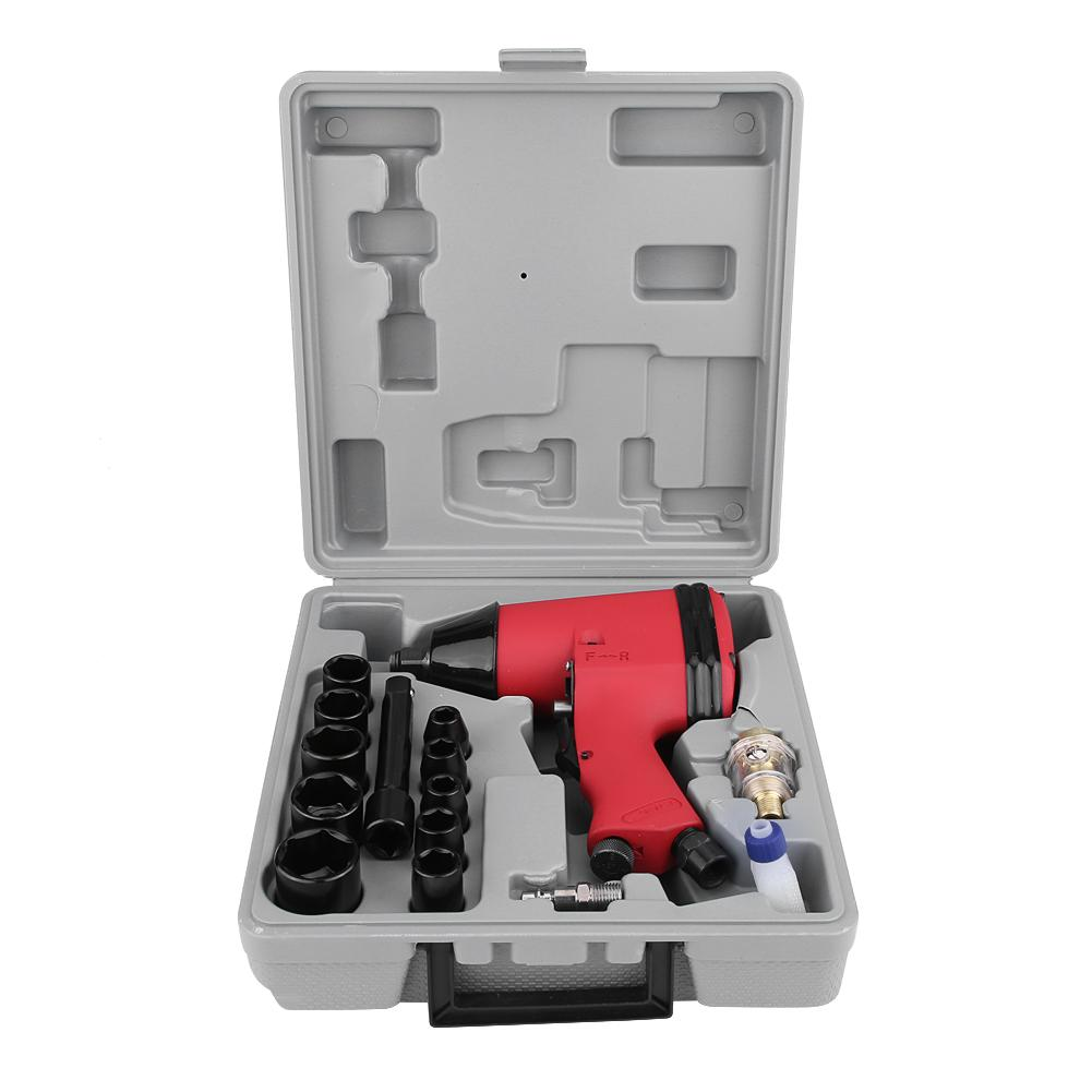17Pcs 1/2 Twin Hammer Air Impact Wrench Gun Set W/ Sockets + US Adapter + Case Aluminum Alloy Pneumatic Wrench Car Repair Tools