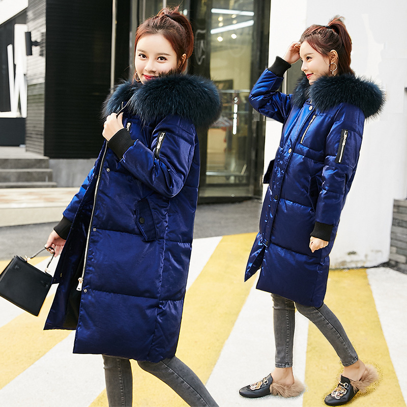 Women   Down     Coats   Winter Thick Long Parkas Casual Big Fur Collar Jackets White Duck   Down   Hooded Outerwear 2018 Winter   Down     Coats