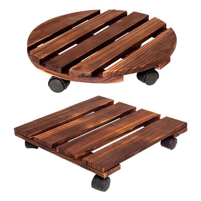 Online Wooden Plant Pot With Wheels Roller Moving Tray Torus Holder Wood Square Caddy Stand Rollers Aliexpress Mobile