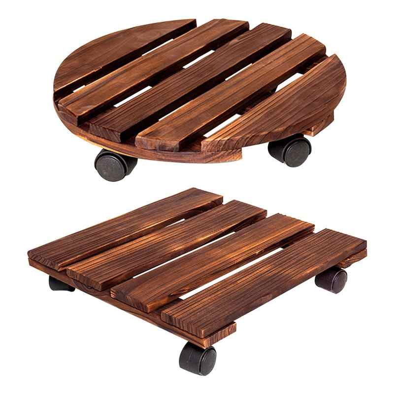Wooden Plant Pot With Wheels Roller