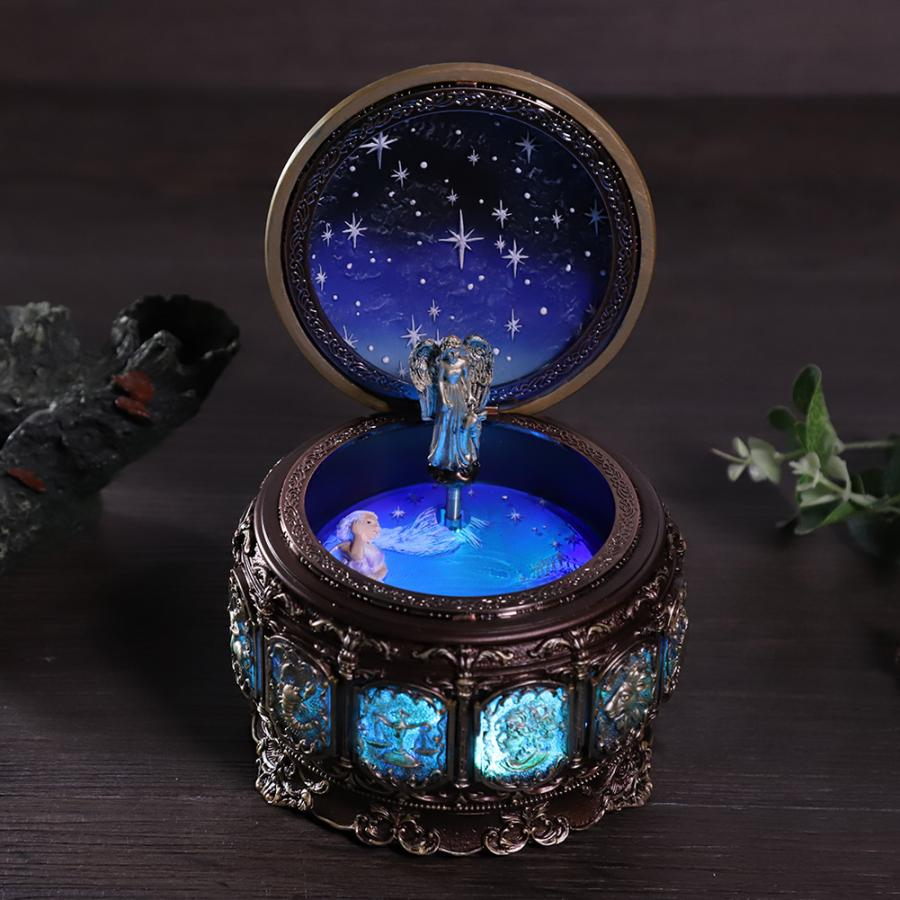 Bronze Zodiac Vintage Music Box with 12 Constellations Rotating Goddess Twinkling LED Light Game of Thrones
