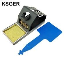 KSGER DIY T12 держатель из цинкового сплава паяльник FX9501 ручка рамка OLED станция Подставка для ручки из нержавеющей стали силиконовый коврик