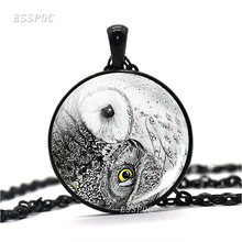 Vintage Yin Yang Owl Pendant Metal Necklace Glass Cabochon Dome Necklace Zen Spiritual Yoga Jewelry Man Woman Handmade Gift(China)