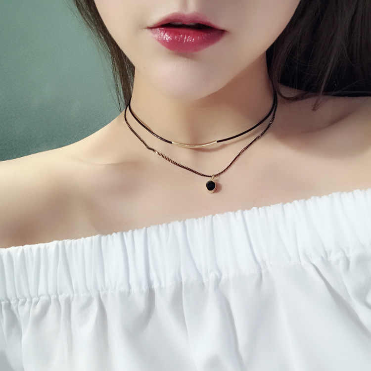 Simple wild black rope choker necklace short accessories Korean jewelry black Rhinestone double female birthday gift necklace