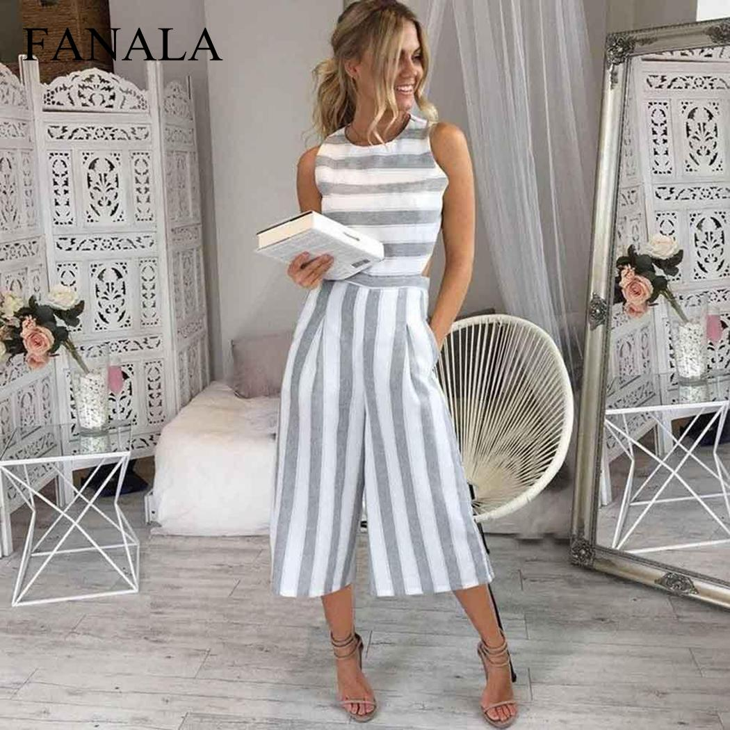 Summer   Jumpsuit   Women Casual Rompers Womens   Jumpsuits   O-Neck Sleeveless Loose Siamese Pants Strips Bodysuit With Pockets