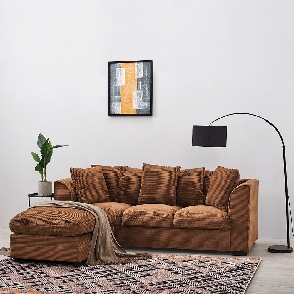 Panana Living Room Furnitures Corner Sofa Bed /Footstool Seater With Armrest Cushions Pillows Brown Fast Deliver