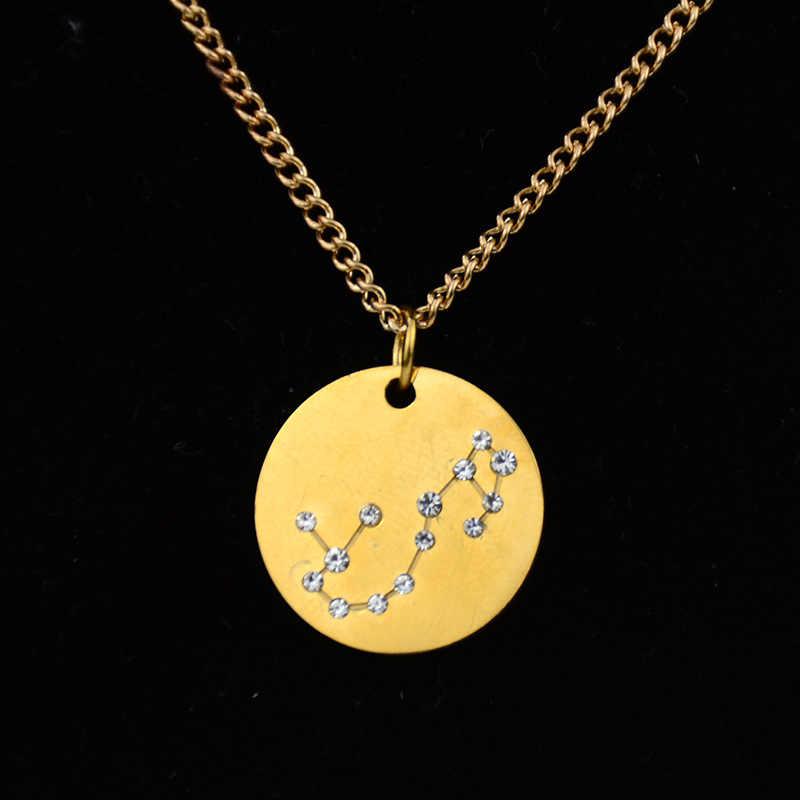 Nova Moda Estrela 12 Constellation Signo do zodíaco Colares & Pingentes Pingentes de Aço Inoxidável Colar para As Mulheres de Jóias Presente de Aniversário