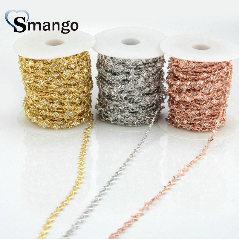 3 mètres, la chaîne carrée blanche réglage CZ, accessoires de bijoux de mode, 3 couleurs de placage, peut mélanger la couleur