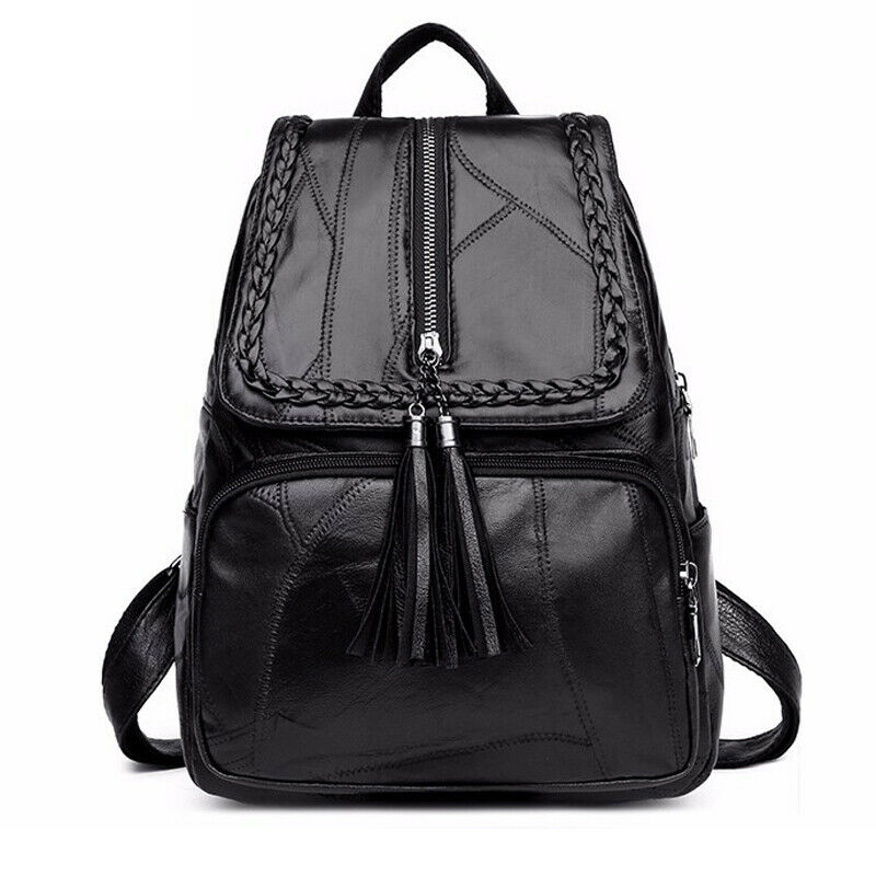 School-Bag Backpack Multi-Function Classic Travel Black Waterproof Women's PU