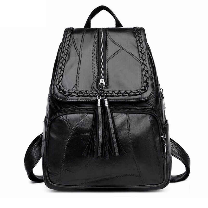 2019 Women's PU leather backpack School bag classic black waterproof travel multi-function Shoulder bag