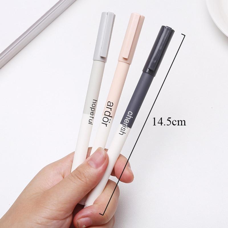 Creative Motto Gel Pen 0.5mm Kawaii Simple Black Ink Neutral Pens For Kids Girls Gift Writing School Supplies Korean Stationery