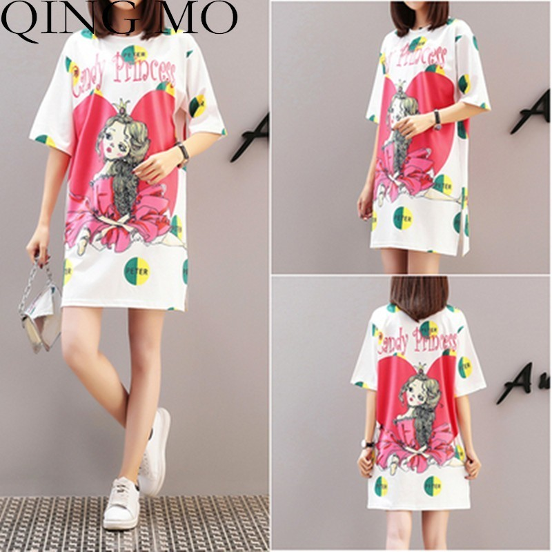 QING MO Print T Shirt Dress 2019 Summer Casual Cotton Tee Shirt Dresses Plus Size Round Neck Short Sleeve Dress Women Tops QF617-in Dresses from Women's Clothing    1
