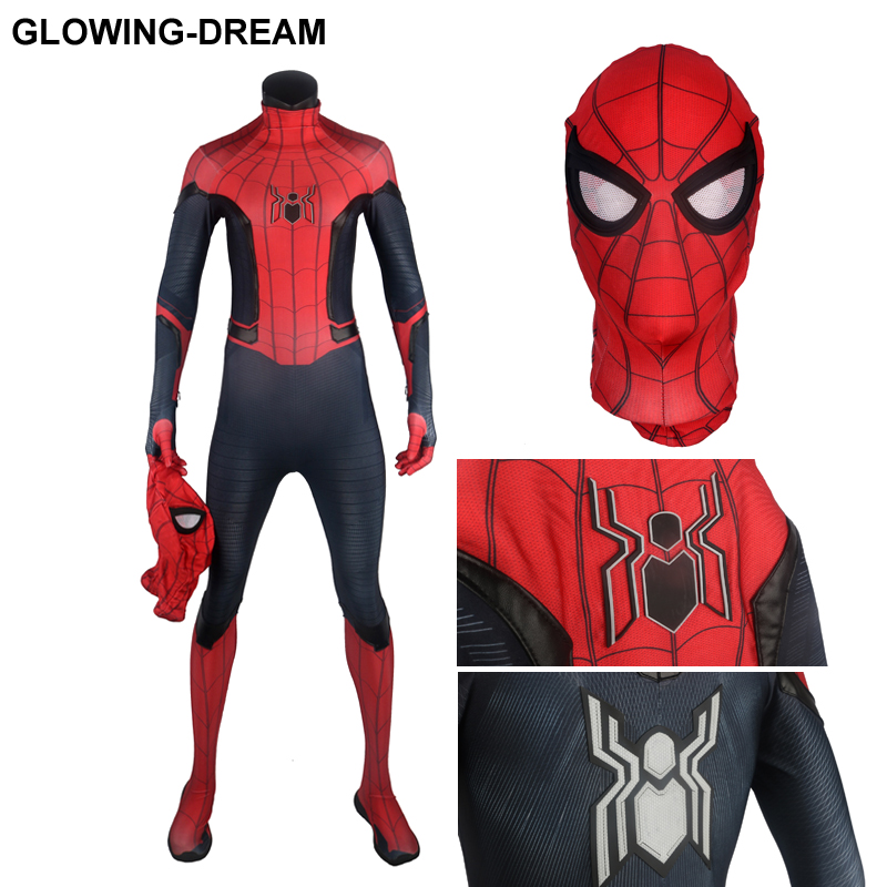 High Quality 3D Print FFH Spider Man Cosplay Costume With Detail Rubber Logo Spider Man Costume For Halloween FFH Spiderman Suit