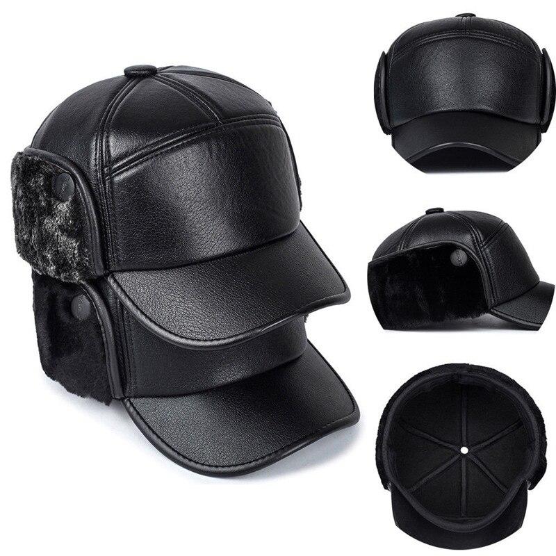 5ac1c855 New Fashion Men Leather Trapper Hat Baseball Cap Outdoors Hunting Aviator  Ear Flap Winter Men Women
