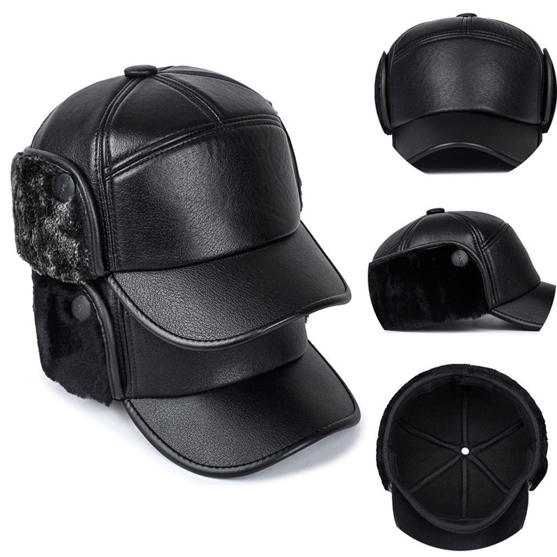 New Fashion Men Leather Trapper Hat   Baseball     Cap   Outdoors Hunting Aviator Ear Flap Winter Men Women   Caps   Casual Visor Adjustable