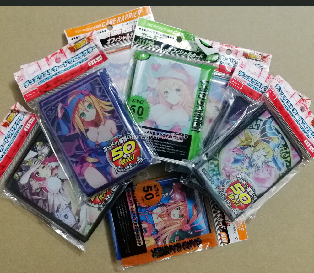 50 pcs/set  Yu-Gi-Oh! Cosplay Yugioh Dark Magician Girl Anime Board Games Card Sleeves Card Barrier Card Protector box clutch purse