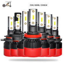 FUXUAN Car H7 Led Headlight Bulbs H4 H1 H3 H11 9005 HB3 9006 HB4 H8 H9 880 881 60W/Pair Auto 12V 6000K High Bright Lamp